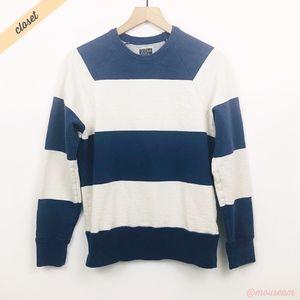 [J. Crew] Men's Blue/Cream Striped Vintage Fleece